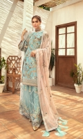 Embroidered front along with beautiful handwork on Organza  Embroidered back  Organza Embroidered Sleeves along with embroidered border patch  Organza Embroidered front and back border  Chiffon embroidered Duappata  Net Embroidered Sharara fabric along with jamawar lining