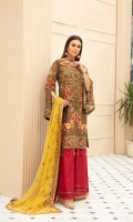 Embroidered Chiffon Front  Embroidered Chiffon Back  Organza Embroidered Border for Front and Back  Embroidered Chiffon Sleeves  Embroidered Chiffon Duppata