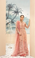 Embroidered Net Front Right and Left Panel  Embroidered Front, Right and Left Body  Embroidered Side Panel for Front  Embroidered Net Back  Embroidered Side Panel for Back  Embroidered Front Back Border  Embroidered Sleeves  Embroidered Net Duppata  Tie and Dyed Rawsilk Trouser