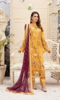 Embroidered Chiffon Front  Embroidered Chiffon Back  Organza Embroidered Border for Front and Back  Embroidered Chiffon Sleeves  Embroidered Chiffon Duppatta  Dyed Rawsilk Trouser