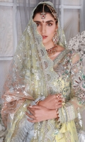Front: Net Embroidered Handwork Left and Right Panels. Back: Embroidered Back. Sleeves; Net Embroidered Hand work Sleeves. Laces: Organza embroidered handwork front border. Raw silk embroidered hand work front lace. Organza embroidered back border. Raw silk embroidered Laces for front, back and sleeves. Embroidered lace for Belt. Pouch: Net Embroidered matching Pouch. Dupatta: Net Foil printed Dupatta Organza embroidered Laces for Dupatta. Sharara/Lehnga: Block Printed silk fabric. Accessories: Shirt Tussles Included