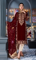 Front: Velvet Dori embroidered center and side panels, Back; Velvet Back Sleeves: Velvet cording embroidered sleeves Laces: Velvet cording embroidered front and back patch, embroidered lace for back center panel, Dupatta: Chiffon embroidered dupatta with Jamwar Pallu patch Trouser: Dyed Jamawar