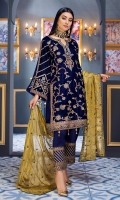 Front:  Velvet Cording embroidered front Back: Velvet Sleeves: Velvet cording embroidered sleeves Laces: Velvet corded embroidered front, back and sleeves broder Dupatta: Mesouri Embroidered Dupatta Trouser: Raw silk trouser along with embroidered border