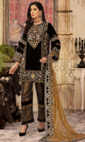 Front; Velvet beautiful Embroidered Neckline with the addition of Handwork with Pearls, Gota Work and sequence.  Back; Plain Velvet Center Panel  Left, Right Panel: Velvet Embroidered left and Roght embroidered panels for front and back  Border; Velvet Embroidered front, Back borders  Sleeves; Velvet Embroidered Duppata; Embroidered Chiffon along with Velvet Embroidered Four side lace  Trouser: Dyed Jamawar