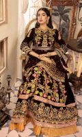 Shirt Front; Velvet Embroidered with Embossed Gold Dori Art, thread and Sequence  Shirt Back ; Velvet Embroidered  Sleeves: Velvet Embroidered  Lehnga Front; Velvet Embroidered  Lehnga Back: Velvet Embroidered  Lenhga lace: Embroidered satin  Lehnga Border; Velvet Embroidered  Duppata; Banarsi Shawl  Trouser; Raw Silk Dyed