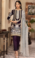Front; Velvet Embroidered with beautiful Sheesha work enhancing the craftsmanship  Back; Velvet Sprinkled Embroidered  Border; Velvet Embroidered Front , Back Border  Sleeves; Velvet Embroidered  Sleeves Border; Velvet Embroidered  Duppata; Embroidered Chiffon Trouser; Dyed Raw Silk