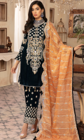 Front; Velvet heavy Embroidered Neck Line with Beautiful handwork and Dori work.  Back: Plain Velvet  Sleeves: Velvet Embroidered  Trouser Velvet Embroidered  Trouser Patch: Velvet Embroidered  Duppata: Mesouri Embroidered
