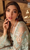 Net Embroidered  front body, Net Embroidered back body,  Net Embroidered front and back panels, Net Embroidered sleeves. Organza Embroidered  front, back, sleeves border , Net Embroidered Dupatta ,Organza Embroidery border for dupatta Raw silk trouser.