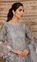 Chiffon embroidered front with Adda work. Chiffon Embroidered Back. Embroidered side panels. Organza embroidered sleeves. Panni embroidered sleeves patch. Embroidered fornt and back patches. Embroidered Dupatta on net along with Foil Printed fabric for pallu and embroidered Lace. Net Embroidered Sharara along with Raw silk trouser.