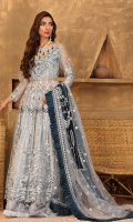 Embroidered Adda Work body on net., Embroidered Back body. Embroidered Front and Back Panels. Embroidered Sleeves. Organza Embroidery  front, back border , Net Embroidery Dupatta along with Center embroidered motif on chiffon and embroidered borders. Jamawar trouser.