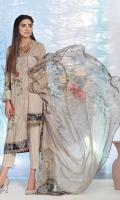 2.5 Meters Digital Printed and Embroidered Lawn Shirt 0.5 Meter Lawn Sleeves 2.5 Meters Plain Trouser 2.5 Meters Printed Chiffon Dupatta