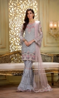 Embroidered front 0.87 yard chiffon. Embroidered back 0.87 yard chiffon. Embroidered sleeve 0.75 yard chiffon. Embroidered front lace 1.00 yard chiffon Embroidered back lace 1.00 yard net Embroidered dupatta 2.5 yard net Embroidered trouser lace 2 yard raw silk Jacquard trouser 3.00 yard
