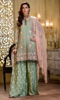 Embroidered front 0.87 yard chiffon. Embroidered back 1.00 yard chiffon. Embroidered sleeve 0.75 yard chiffon. Embroidered front lace 1.00 yard chiffon Embroidered sleeve pach 2 pc net Embroidered back lace 1.00 yard net Embroidered dupatta 2.5 yard chiffon Embroidered trouser 2.5 yard raw silk