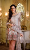 Embroidered front 0.87 yard chiffon. Embroidered back 1.00 yard chiffon. Embroidered sleeve 0.75 yard chiffon. Embroidered front+back lace 1.80 yard chiffon Embroidered sleeve pach 2 pc net Embroidered gala pach 1 pc net Embroidered dupatta 2.5 yard chiffon Jacquard trouser 2.5 yard