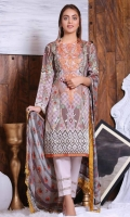 Shirt: - Digital Printed and Embroidered Twill and Slub Linen Dupatta: - Digital Printed and Embroidered Chiffon Trouser: - Dyed