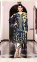 Viscose Embroidered Front  Printed Back & Sleeves  Chiffon Dupatta  Dyed Trouser  Emb Patti Trouser