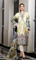 Pure Viscose Printed Shirt  Chiffon Dupatta  Dyed Trouser  Emb Trouser Patti+Emb Border