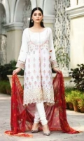 Viscose Embroidered & Dyed Front  Printed Back & Sleeves  Chiffon Dupatta  Dyed Trouser  Emb Border+Emb Sleeves Patti