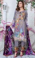 Digital Front Embroiderd :- 1.25m Digital Back Sleeves :- 1.75m Velvet Shawl :- 2.5 Yards Embroiderd Motifs 2 Pisces
