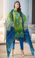 Twill Linen Parinted Shirt  Viscose Printed Shawl  Mareena linen Dyed Trouser  Embroidered Ghera Patti  Embroidered Sleeves Patti  Embroidered Trouser patti