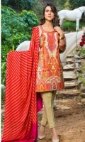 Karandi Embroidered And Printed Front  Karandi Embroidered Back & Sleeves  Printed Viscose Shawl  Cotton Dobbi Tarouser