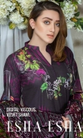 Digital Printed Shirt  Printed Back & Sleeves  Velvet Printed Dupatta  Dyed Trouser