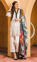 Printed Lawn Shirt 2.94 Meter Printed Lawn Dupatta 2.55 Meter Dyed Cambric Trouser 2.50 Meter Embroidered Neck Patti 1 Meter