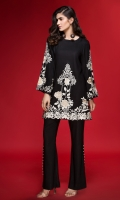 BOAT NECK LINEN KURTA WITH RICHLY EMBROIDERED DAMAN AND SLEEVES ALONG WITH PEARLS DETAIL AT SLEEVES