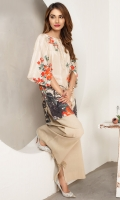 Digital Printed Kurta Boat Neck Floral Print Front back & Sleeves Golden Pearl Details At Front & Sleeves