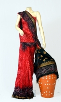 Pashmina Silk Fabric of Saree With Bandhani Motif Design on Anchal, Blouse of Bandhani Work.