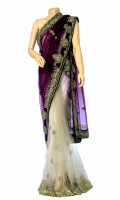 Double Shaded Style Net Fabric Saree, with stone work. Blouse of Net Stone Work.