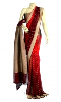 Maisori Chiffon Saree, with Plain Border Line Style Design and Blouse of Zarbafat Zari Style.
