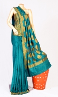 Pashmina Silk Saree with Long Motif style Design and Embossed work on Anchal, Blouse of Zarbafat Mena Work.