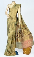 Maisori Tissue Fabric of Saree with Bridal Kundan Work all over and Fancy Style Anchal, Blouse Zarbafat Zari Work.