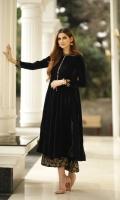 Shirt Velvet Front & Back, Velvet Embroidered Sleeves, Shalwar Velvet Embroidered Culottes.