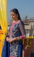 Shirt Organza Embellished Front & Back. Net Embellished Sleeves. Dupatta Organza Embellished Dupatta. Shalwar Raw Silk Embellished Shalwar Front & Back.