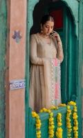 Angrakha Sequin Chiffon Front & Back. Sequin Chiffon Sleeves. Dupatta Organza Embellished Dupatta. Pajama Viscous Churidaar Pajama.