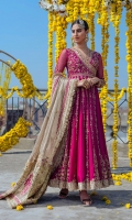 Pishwas Raw Silk Embellished Front & Back Net Embellished Sleeves Dupatta Organza Embroidered Dupatta Pajama Viscous Churidaar Pajama