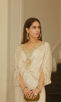 Kaftan sequin chiffon white: Hand embellished sequin chiffon front and back.