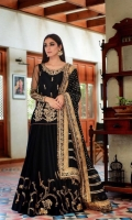 '-Zartaj features gorgeous handworked golden posies and tapestries as shown in the picture. Fabric: Soft chiffon net and Raw silk Items: 3 Colour: Black