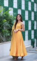 Product details: Fabric: Rich cotton silk and net Items: 3 Colour: Mustard -Kesar is a flowy pishwas featuring a hand embellished bodice and a net dupatta with glistening golden details.