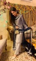 Upper: Embroidered grey shirt Dupatta: Navy Blue all around embroidered border Lower: Grey embroidered shalwar pants