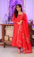 A beautiful 3 piece jora, Stunning chicken kari pishwas with elegant hand embellishment on sleeves and neckline paired with a traditional gotta detailed organza dupatta.