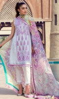 Exclusively weaved embroidered shirt front (jacquard) Exclusively weaved shirt back (jacquard) Exclusively weaved sleeves (jacquard) Exclusively weaved self-design trouser Digitally printed dupatta (medium silk) Exclusively weaved zari border