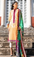 Exclusively weaved and embroidered shirt front (Jacquard) Exclusively weaved and embroidered shirt back (Jacquard) Exclusively weaved sleeves (Jacquard) Exclusively weaved self designed trouser Digitally printed dupatta (medium silk) Embroidered border