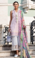Exclusively embroidered schiffli shirt front (Lawn) Exclusively embroidered schiffli shirt back (Lawn) Exclusively embroidered schiffli sleeves (Lawn) Exclusively weaved self designed trouser Digitally printed dupatta (Chiffon) Embroidered border
