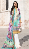 Printed shirt front (Lawn) Printed shirt back (Lawn) Print sleeves (Lawn) Exclusively weaved self design trouser Digitally printed dupatta (medium silk) Embroidered borders