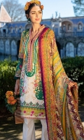 Printed shirt front (Lawn) Printed shirt back (Lawn) Print sleeves (Lawn) Exclusively weaved self design trouser Digitally printed dupatta (Chiffon) Embroidered neckline and borders