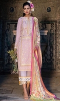 Exclusively weaved and embroidered shirt front (Jacquard) Exclusively weaved and embroidered shirt back (Jacquard) Exclusively weaved sleeves (Jacquard) Exclusively weaved self designed trouser Digitally printed dupatta (Jacquard) Embroidered border