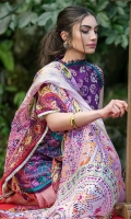 Embroidered shirt front (jacquard) Printed shirt back (pima lawn) Printed sleeves (pima lawn) Digital printed dupatta (tissue silk) Plain trouser (cambric) Embroidered pant border